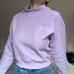 lilac champion exclusive reverse weave mock neck